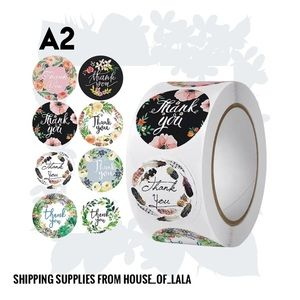 Tropical floral thank you stickers shipping stickers